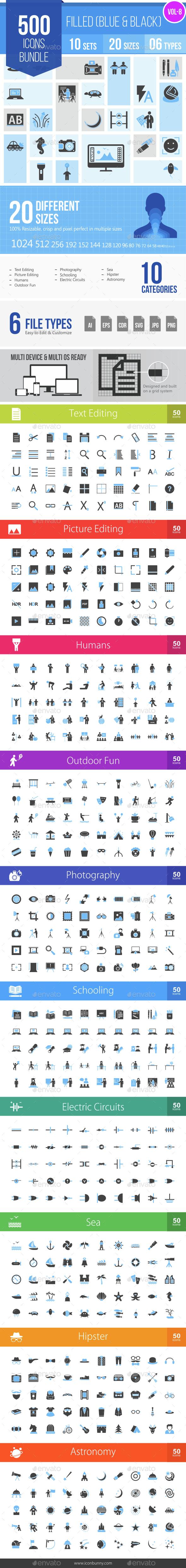 500 Vector Blue & Black Filled Icons Bundle (Vol-8) - Icons