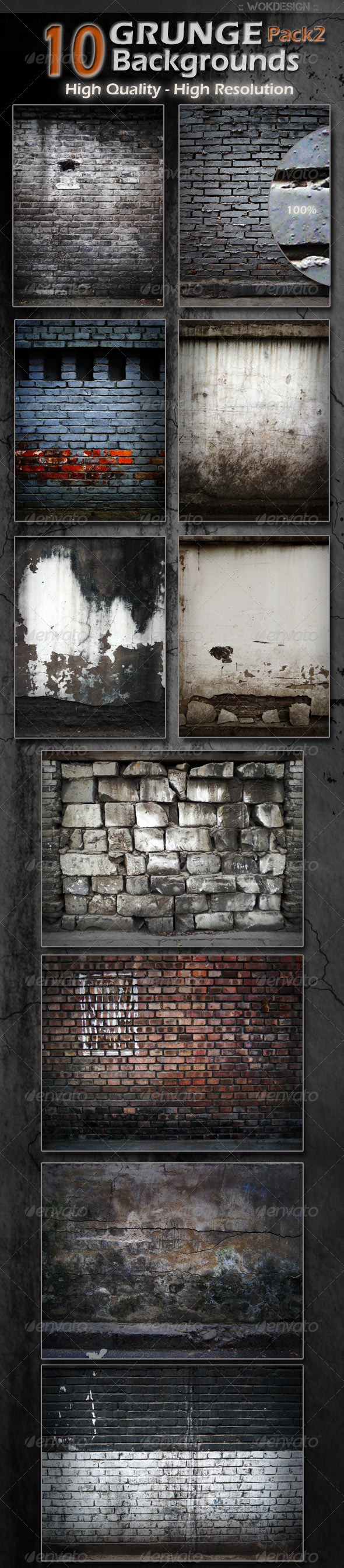 10 Grunge Backgrounds Pack 2 - Backgrounds Graphics