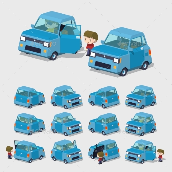 Cube World. Blue Compact Car - Man-made Objects Objects