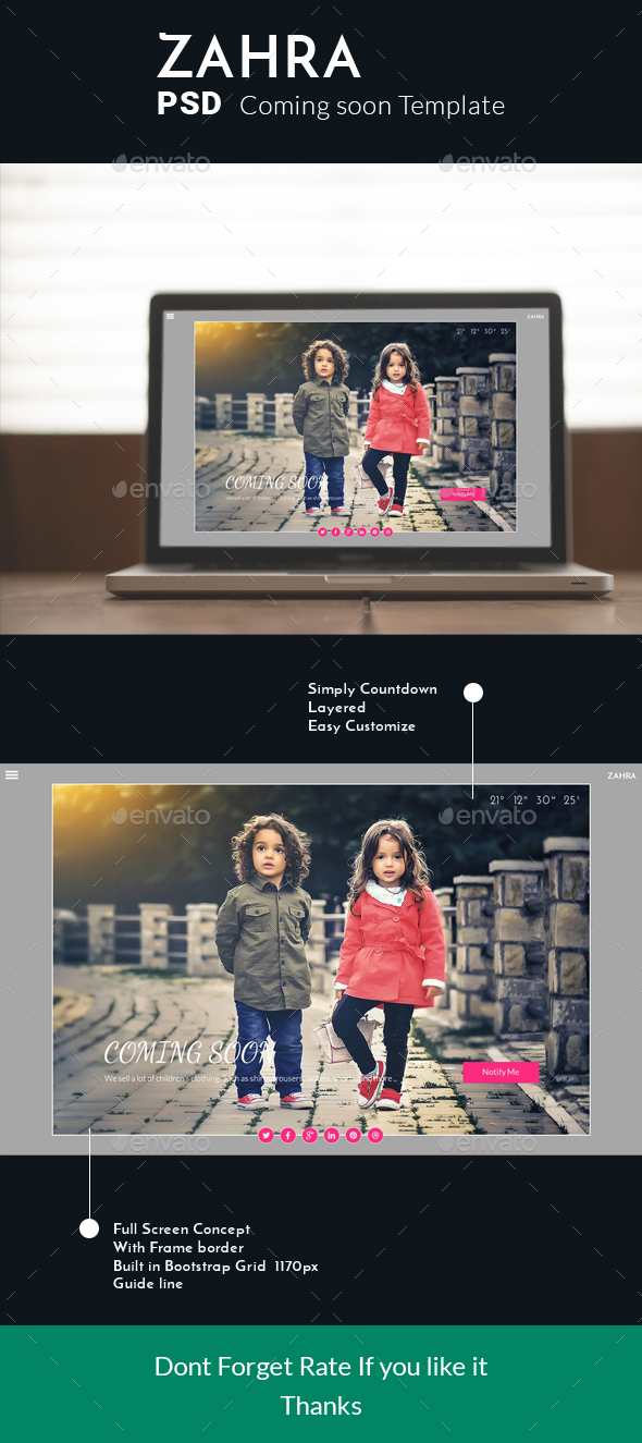 Zahra Coming Soon template - 404 Pages Web Elements