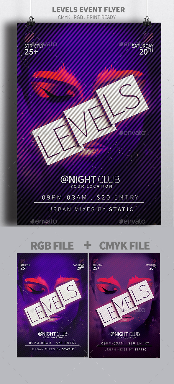 Levels Event Flyer - Clubs & Parties Events