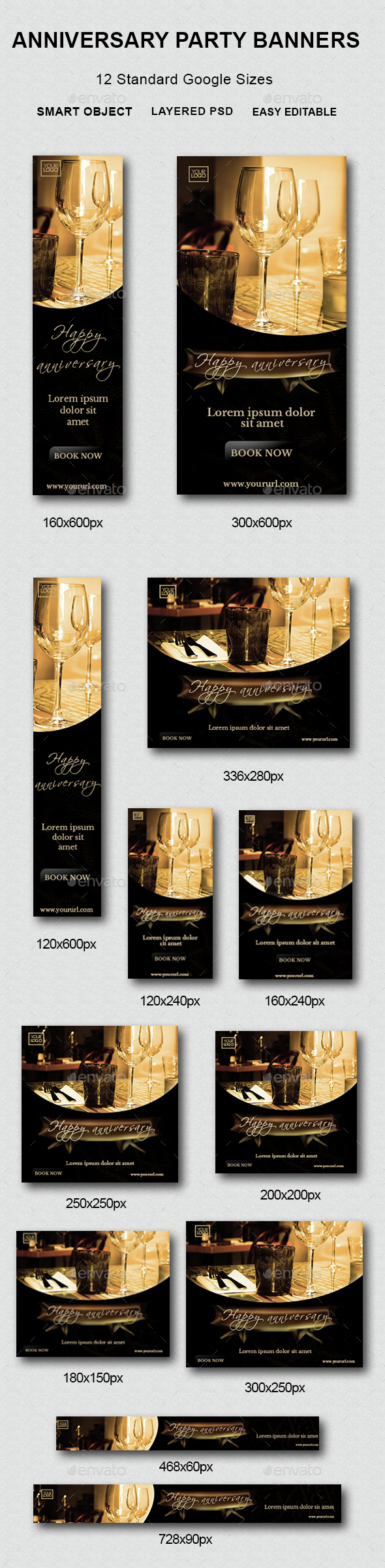 Anniversary Party Banners - Banners & Ads Web Elements