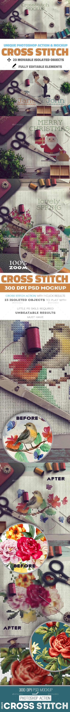 Cross Stitch and Needlepoint Photoshop Mockup - Logo Product Mock-Ups
