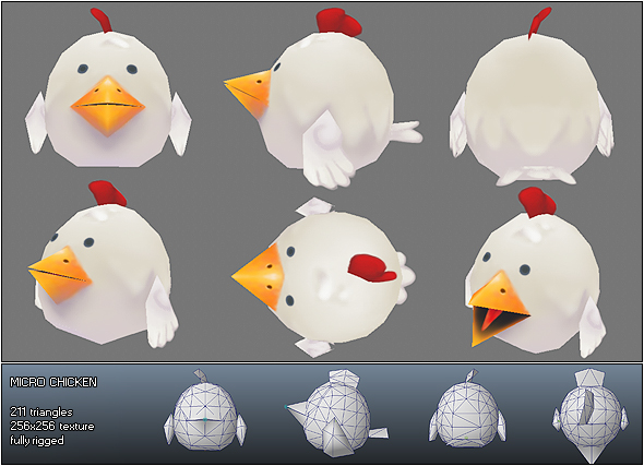 Low Poly Micro Rooster Rudy - 3DOcean Item for Sale
