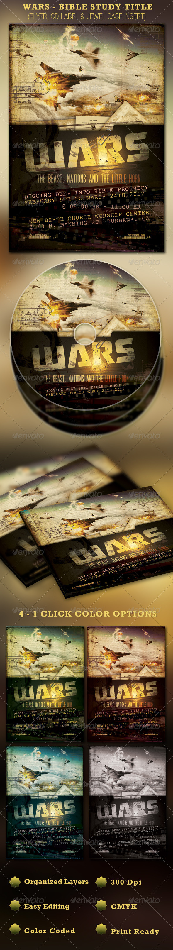 Wars Church Flyer and CD Template - Church Flyers