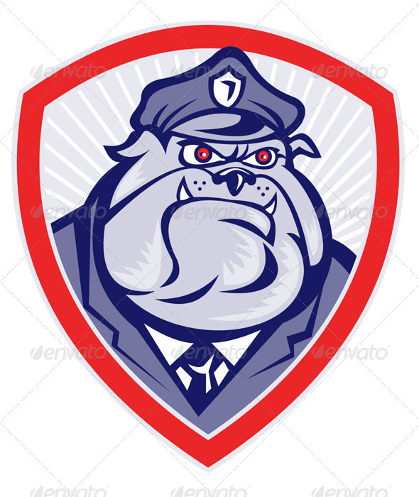 Cartoon Police Dog Watchdog Bulldog Shield - Animals Characters
