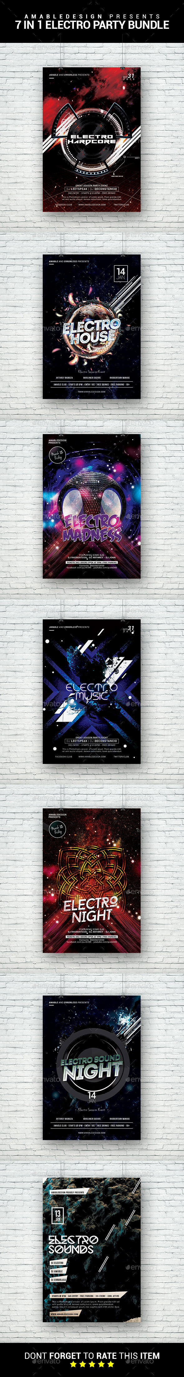 7 in 1 Electro Party Flyer/Poster Bundle - Clubs & Parties Events