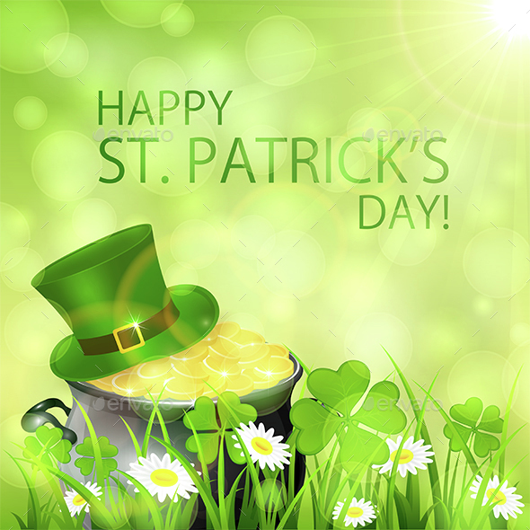 Sunny Patricks Day Background and Gold Leprechauns - Miscellaneous Seasons/Holidays
