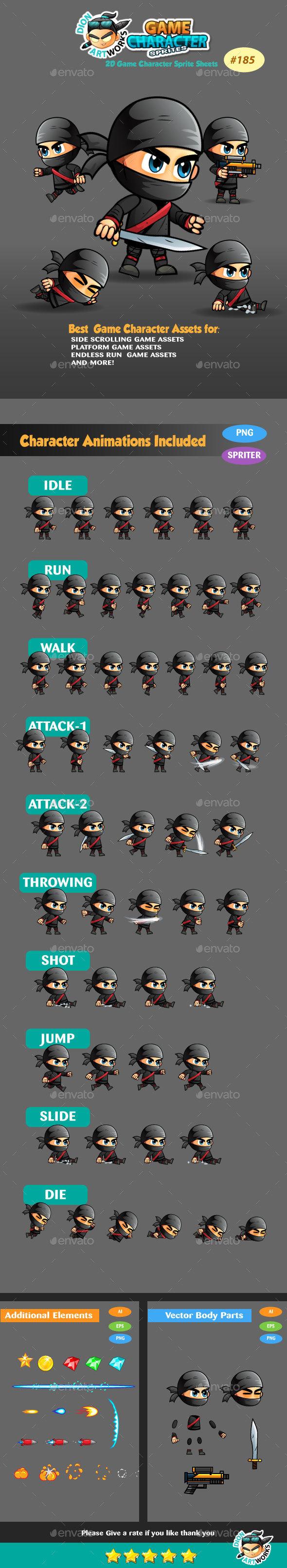 Ninja 2D Game Character Sprite Sheets 185 - Sprites Game Assets
