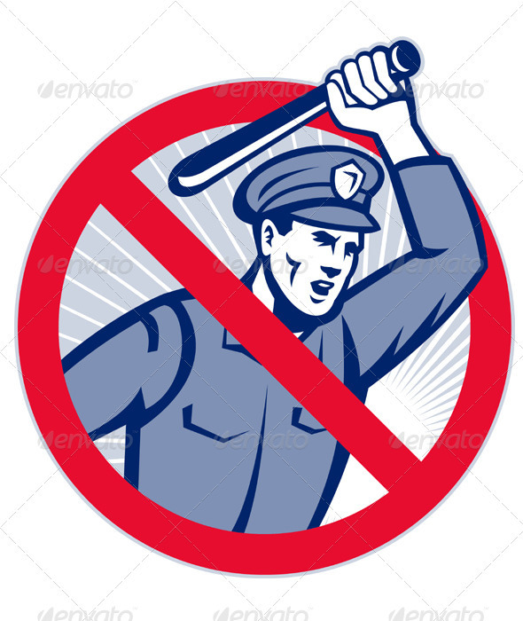 Police Brutality Policeman With Baton - People Characters