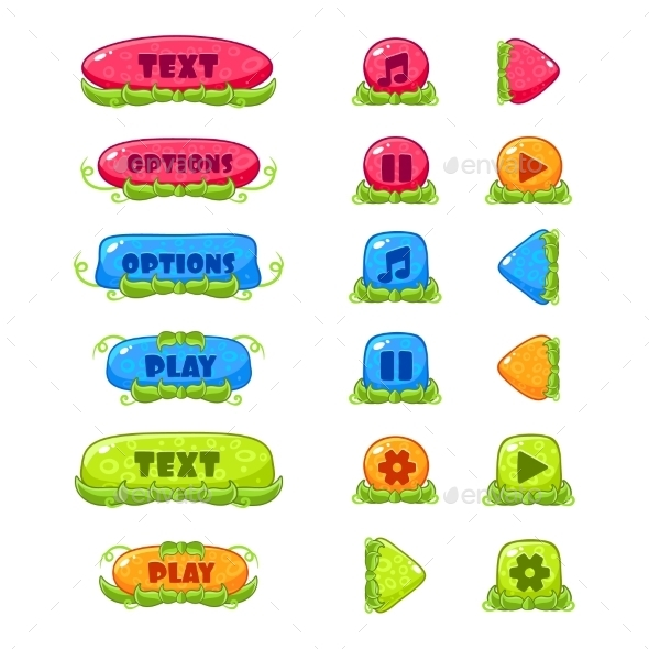 Fruitey Cartoon Buttons, Vector Set - Web Elements Vectors