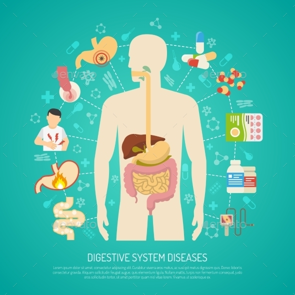 Digestive System Diseases Illustration  - Health/Medicine Conceptual