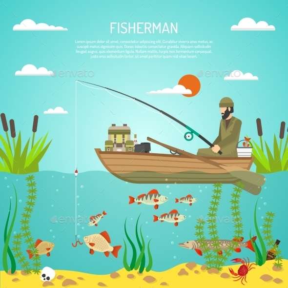Fisherman Color Design Concept - Decorative Symbols Decorative