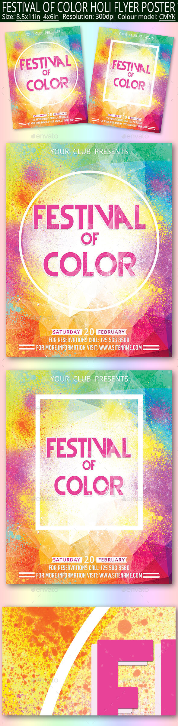 Festival Of Color Holi Flyer Poster - Clubs & Parties Events