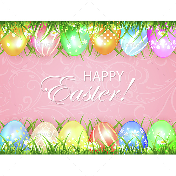 Pink Easter Background with Eggs in Grass - Miscellaneous Seasons/Holidays