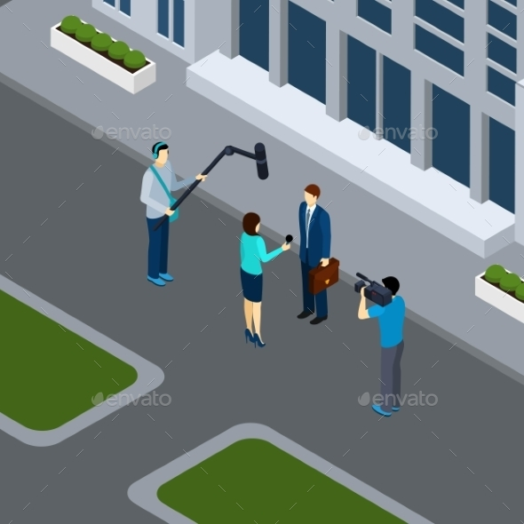 Journalist Reporter Profession Isometric Banner  - Backgrounds Business