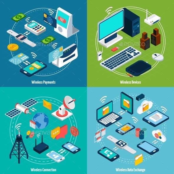 Wireless Technologies Isometric Set - Communications Technology