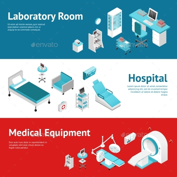 Hospital Medical Equipment Flat Banners Set  - Health/Medicine Conceptual
