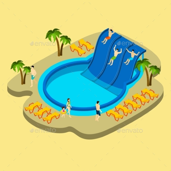Water Park And Swimming Illustration  - Sports/Activity Conceptual