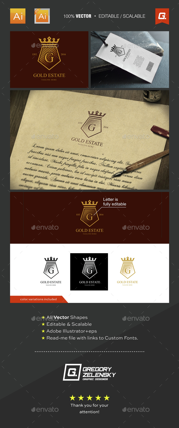 Gold Estate Logo Template - Objects Logo Templates