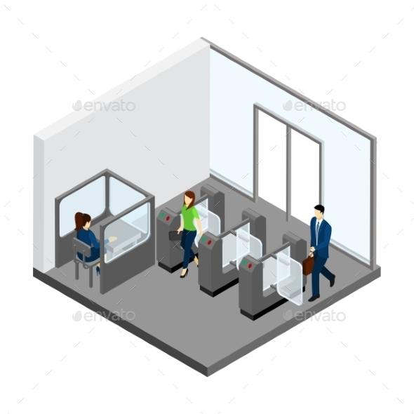 Underground Entrance Illustration  - People Characters