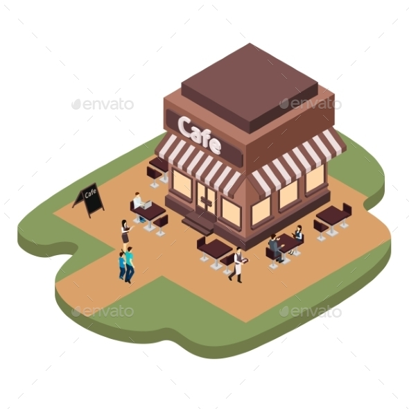 Cafe Building Illustration  - Buildings Objects