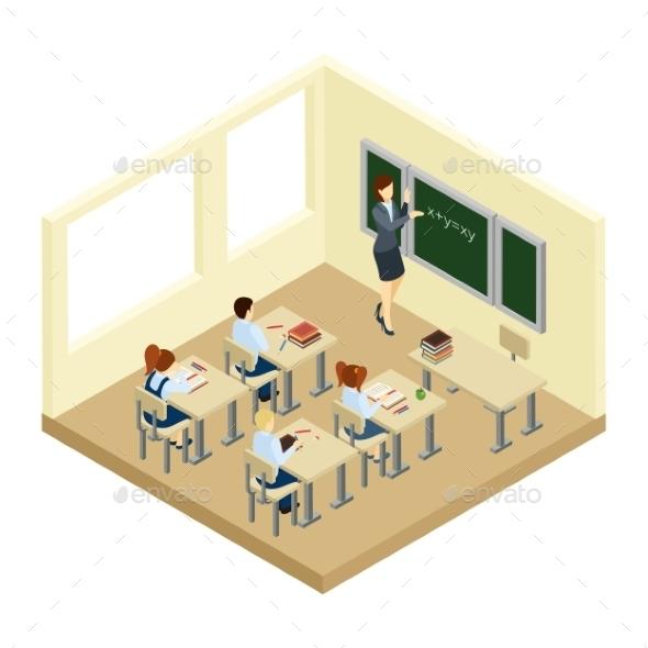 School Isometric Illustration - People Characters
