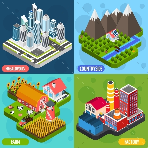 Locations 4 Isometric Icons Square - Miscellaneous Conceptual
