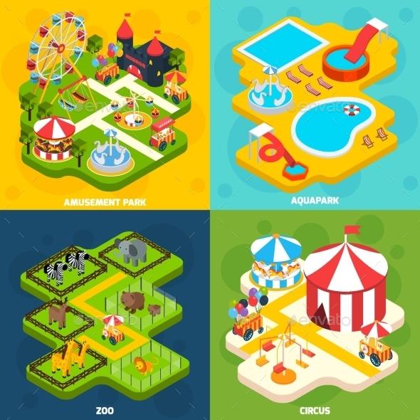 Amusement Park Isometric 4 Icons Square  - Miscellaneous Conceptual