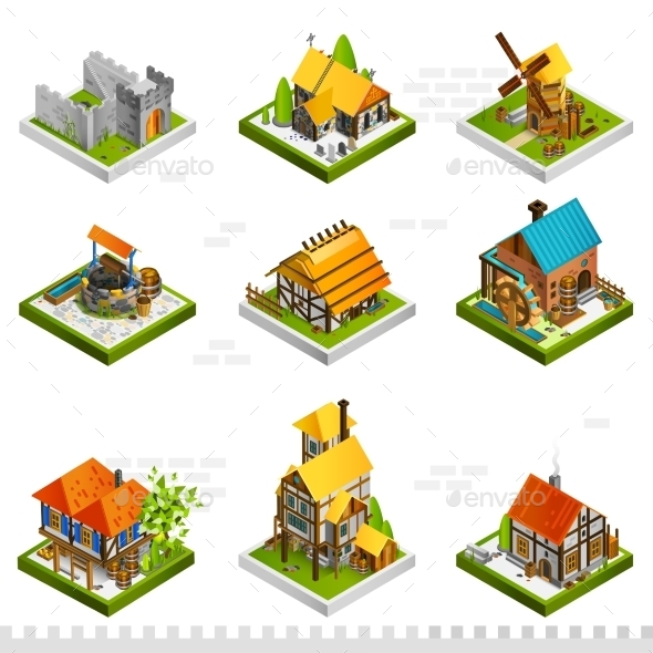 Medieval Buildings Isometric Collection - Decorative Symbols Decorative