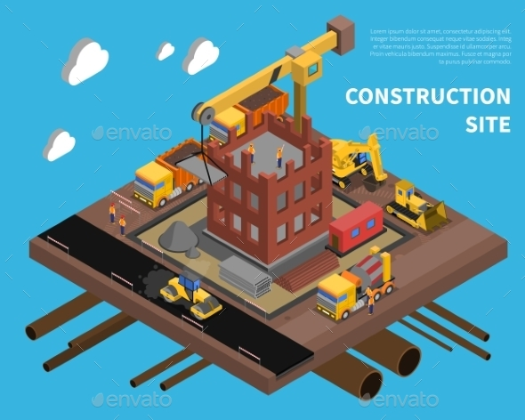 Construction Site Illustration  - Industries Business