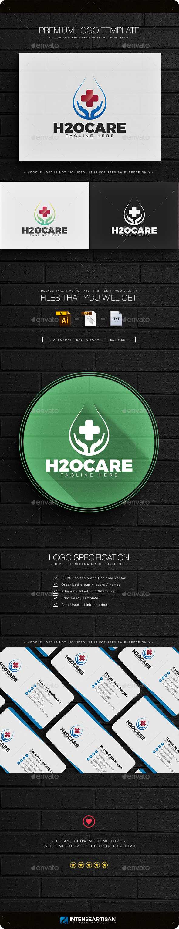 H2O Care Logo - Nature Logo Templates