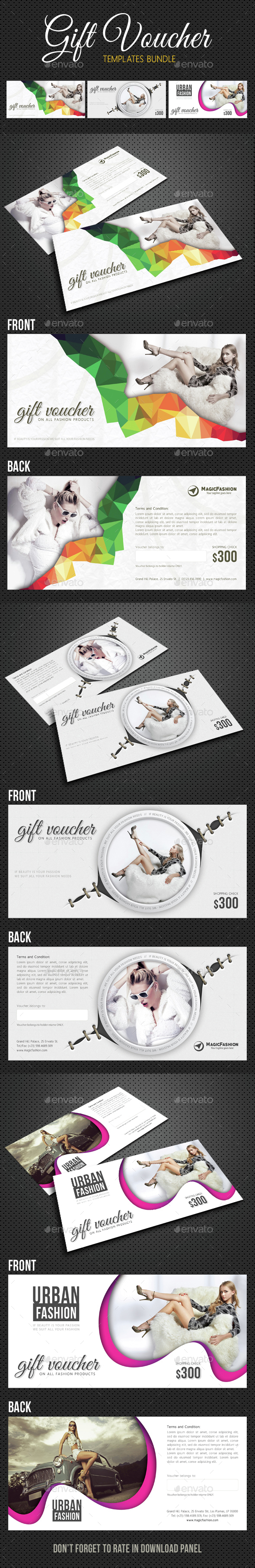 3 in 1 Elegant Gift Voucher Bundle 02 - Cards & Invites Print Templates
