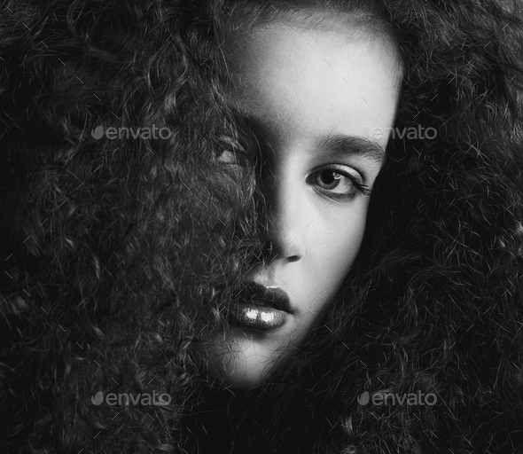 Black and white portrait of a a beautiful female fashion mode - Stock Photo - Images