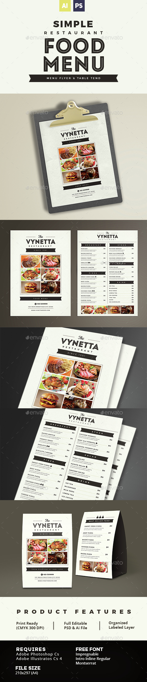 Simple Restaurant Food Menu by vynetta – How to Make a Food Menu on Microsoft Word