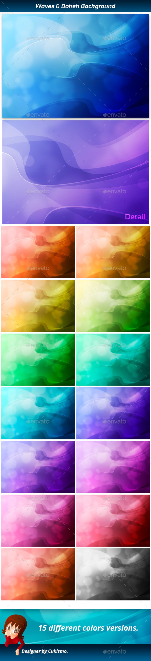 Waves and bokeh abstract background - Abstract Backgrounds