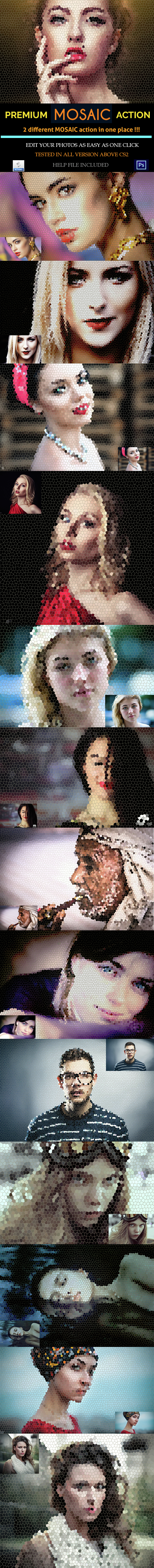 Realistic Mosaic Action Pack - Photo Effects Actions