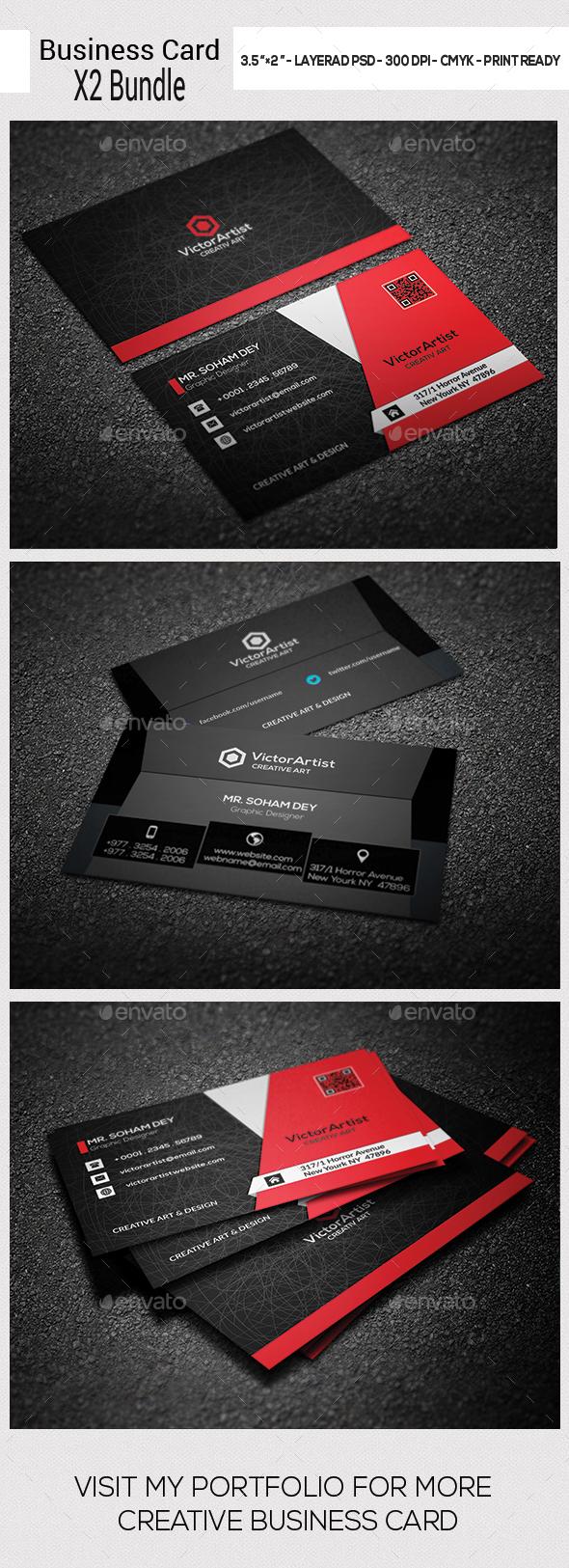 X2 Business Card Bundle - Business Cards Print Templates