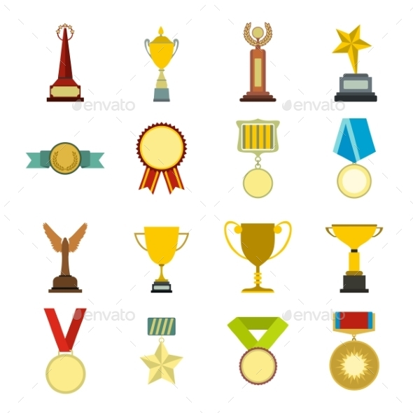 Trophy And Awards Flat Icons Set - Miscellaneous Icons