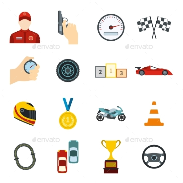 Car Racing Flat Icons  - Miscellaneous Icons