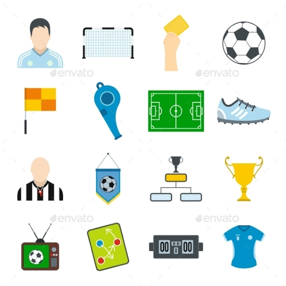 Soccer Flat Icons Set - Miscellaneous Icons