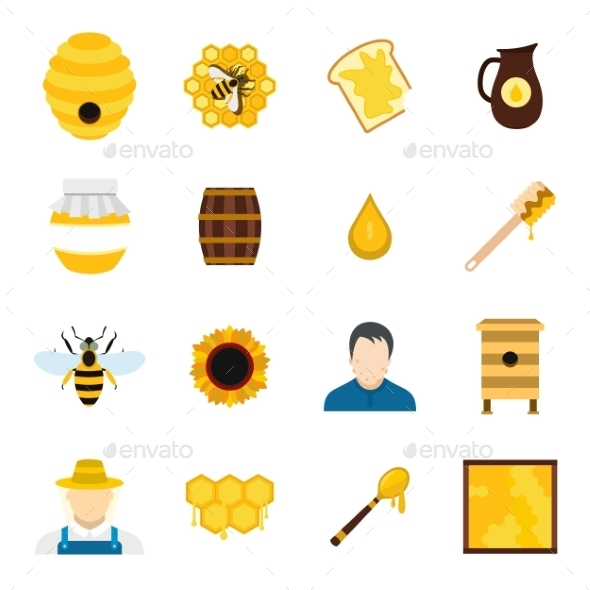Apiary Flat Icons Set - Miscellaneous Icons