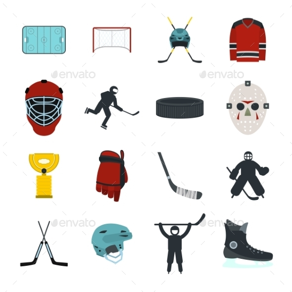 Hockey Flat Icons Set - Miscellaneous Icons