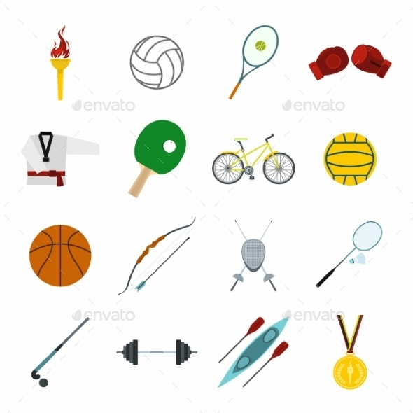 Summer Sport Flat Icons Set - Miscellaneous Icons