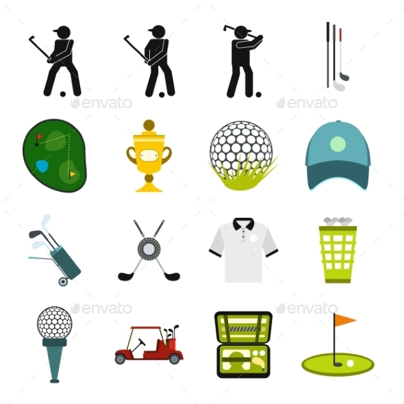 Golf Flat Icons Set - Miscellaneous Icons
