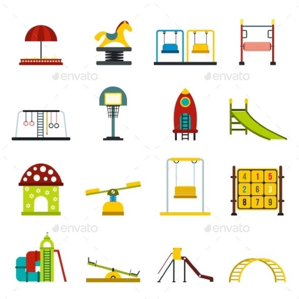 Playground Flat Icons Set - Miscellaneous Icons