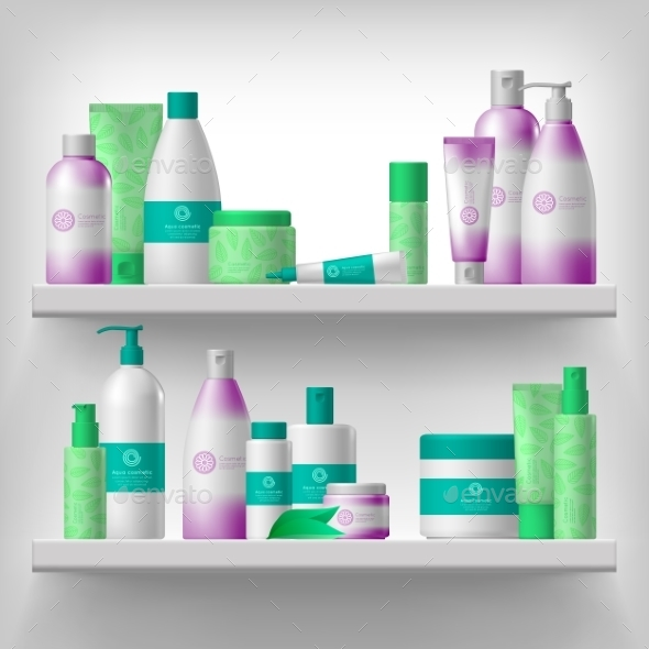 Female Cosmetics on Shelves - Miscellaneous Vectors