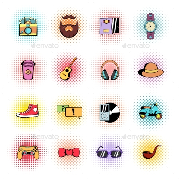 Hipster Style Comics Icons Set  - Miscellaneous Icons