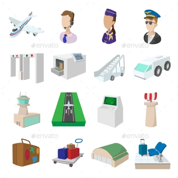 Airport Cartoon Icons - Miscellaneous Icons