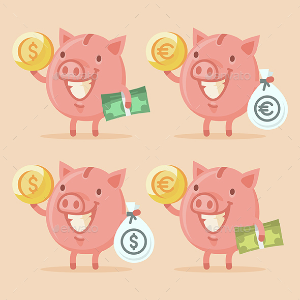 Piggy Bank Holding Money - Concepts Business